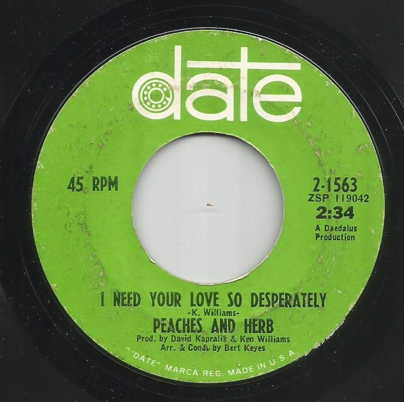 Peaches & Herb - I Need Your Love So Desperately / For Your Love